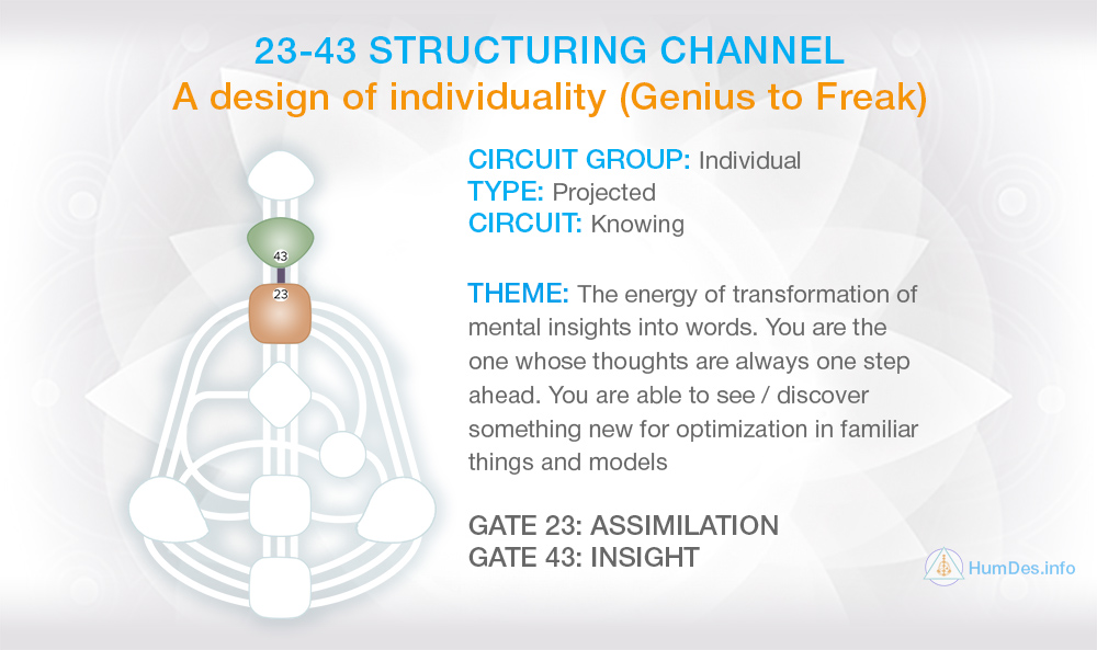 Channel 23-43 Human Design, Structuring Channel